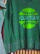 Large v-neck casual baseball team printed sweatshirt