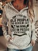 Old People Gray Vintage Letter Printed Shirts & Tops