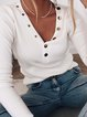 White Long Sleeve Casual Tops