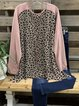 Pink Round Neck Casual Leopard Shirts & Tops