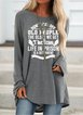 Old People Gray Letter Shirts & Tops