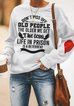 Old People Long Sleeve Printed Shift Casual Shirts & Tops