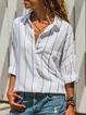 White Striped Shirt Collar Casual Shirts & Tops