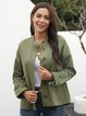 Army Green Crew Neck Pockets Casual Outerwear
