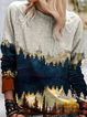 Abstract Shift Long Sleeve Knitted Sweatshirt