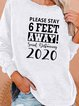 Plus Size Vintage Crew Neck Letter Long Sleeve Shirts & Tops