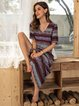Purplish Blue Boho Cotton-Blend Short Sleeve Tribal Dresses