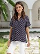 Purplish Blue Shift Floral Vintage Shirts & Tops
