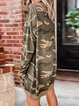 Loose Camouflage  Hoodie With Round Collar In Autumn