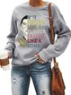 Vintage NOT FRAGILE LIKE A FLOWER Letter Printed Plus Size Long Sleeve Crew Neck Casual Tops