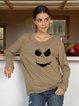 Halloween  Brown Casual Long Sleeve Crew Neck Shirts & Tops