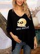 Halloween Black Cotton-Blend Casual Geometric Shirts & Tops