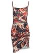 Vintage Square Neck Drawstring Graphic Dress