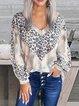 Leopard Print Base Shirt Contrast Color Tie-Dye V-Neck Hoodie