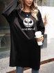 Halloween Black Casual Crew Neck Paneled Shirts & Tops