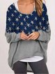 Loose printed long-sleeved knitted autumn and winter top