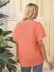 Orange Cotton Plain Half Sleeve Shirts & Tops