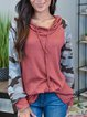 Pink Casual Cotton-Blend Hoodie Shift Shirts & Tops