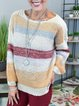 Multicolor Casual Cotton-Blend Sweater