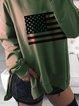 American flag print loose long-sleeved round neck sweatshirt