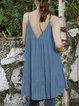 Blue Cold Shoulder Plain Cotton-Blend Shirts & Tops