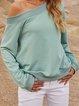 Green Crew Neck Plain Long Sleeve Sweatshirt