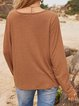 Brown Turtleneck Cotton-Blend Casual Long Sleeve Shirts & Tops