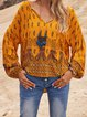 Yellow Cotton-Blend Holiday Shirts & Tops