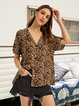 Brown Short Sleeve V Neck Leopard Shirts & Tops