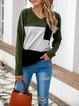 V-Neck Long Sleeve Patchwork Three-Color Striped Shirt