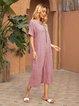 Pink Shift Short Sleeve Cotton Crew Neck Dresses