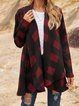 Red Checkered/plaid Casual Paneled Outerwear