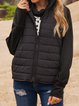 Black Stand Collar Casual Outerwear