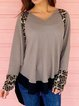Gray Casual Long Sleeve High Low Leopard Shirts & Tops