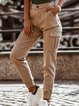 Khaki Casual Shift Plain Pants
