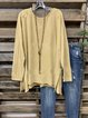 Light Yellow Long Sleeve Slit Shirts & Tops