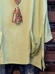 Green Long Sleeve Shift Cotton-Blend Shirts & Tops