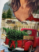 Merry Christmas Truck And Tree Print Tshirt
