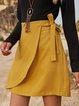 Yellow Casual Cotton-Blend Plain Skirts