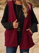 Wine Red Plain Casual Cotton-Blend Hoodie Outerwear