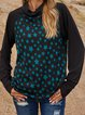 Black Paneled Long Sleeve Polka Dots Shirts & Tops