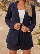 Blue Shawl Collar Plain Long Sleeve Outerwear