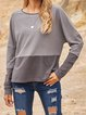 Gray Casual Plain Paneled Shirts & Tops