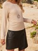 Apricot Long Sleeve Paneled Plain Cotton-Blend Shirts & Tops