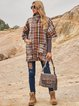 Brown Paneled Boho Stand Collar Outerwear