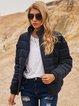 Deep Blue Long Sleeve Stand Collar Cotton-Blend Holiday Outerwear
