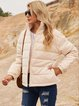 Apricot Cotton-Blend Holiday Stand Collar Outerwear