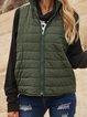 Army Green Plain Sleeveless Cotton-Blend Paneled Outerwear