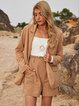 Apricot Long Sleeve Boho Cotton-Blend Plain Outerwear