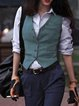 Khaki Wool blend Buttoned Casual Outerwear